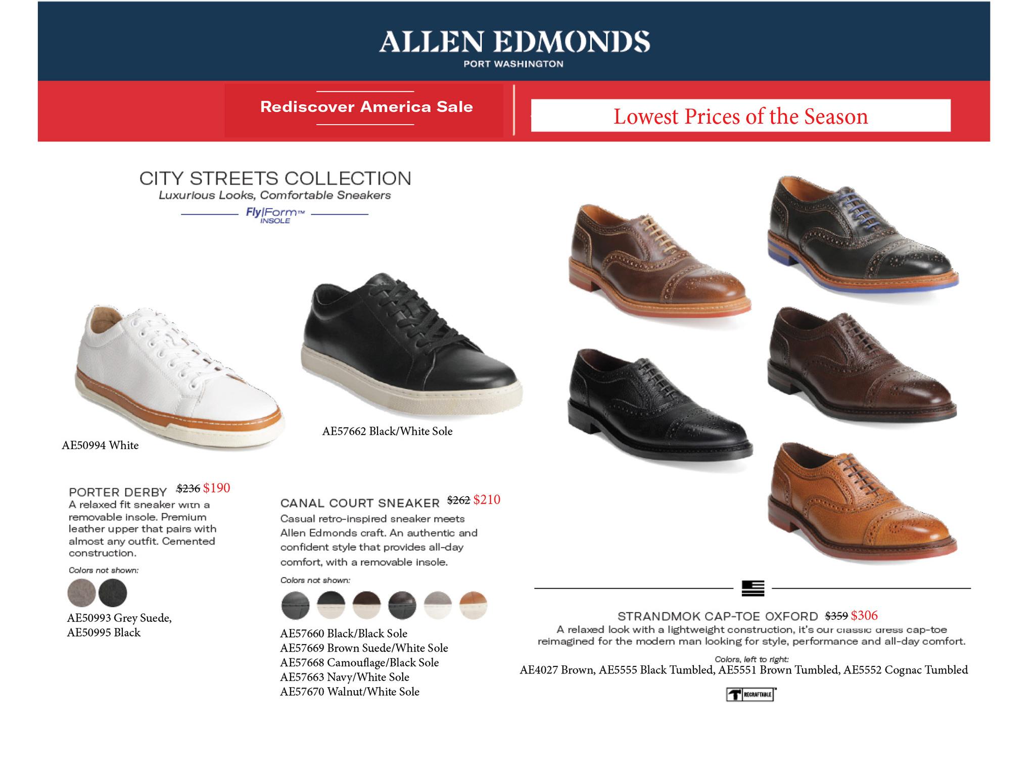 allen edmonds spring summer 2019 mens shoes belts sale black brown lace up slip on park avenue grayson